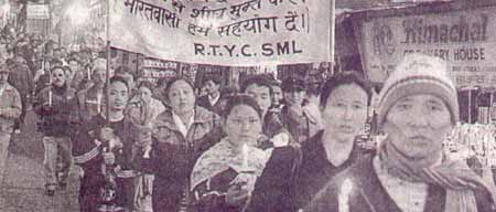Tibetans protest in Shimla